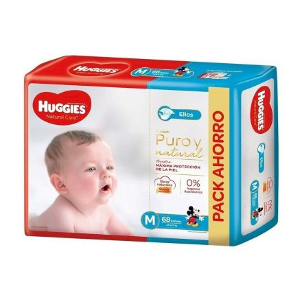 PAÑALES HUGGIES NATURAL CARE NENE M-68U