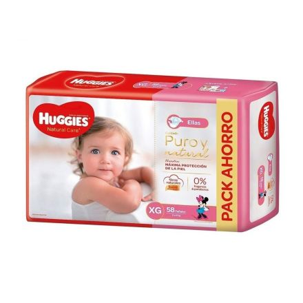 PAÑALES HUGGIES NATURAL CARE NENA XG-58U