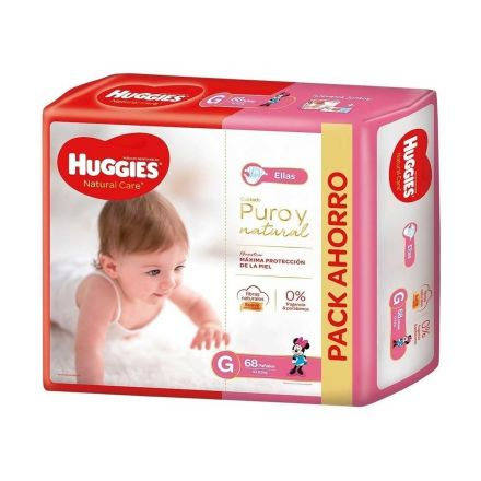 PAÑALES HUGGIES NATURAL CARE NENA G-68U